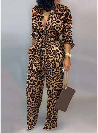 Leopard V-Neck Long Sleeves Casual