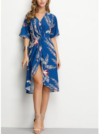 Print 1/2 Sleeves A-line Asymmetrical Casual Dresses