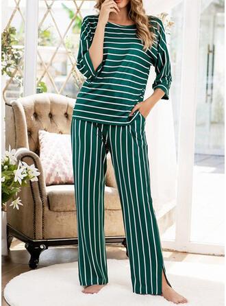 ポリエステル 印刷 縞模様の パッチワーク パジャマセット