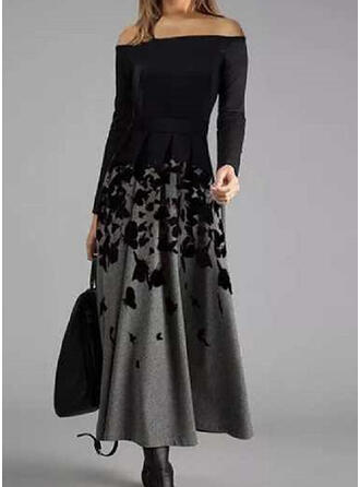 Animal Print Long Sleeves A-line Skater Elegant Maxi Dresses