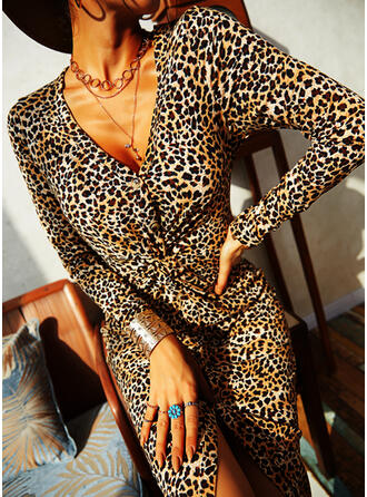 Leopard Long Sleeves Sheath Knee Length Casual Dresses