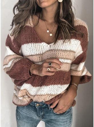 縞模様の チャンキー・ニット Vネック カジュアル セーター