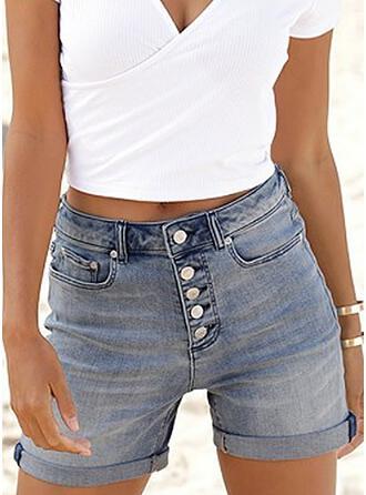 Sólido Juan Por encima de la rodilla Casual Clásico Tallas Grande Bolsillo Botones Pantalones Pantalones cortos Vaqueros