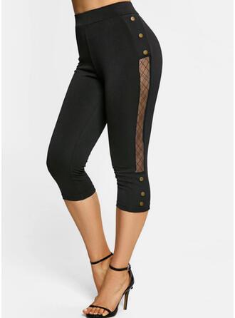 Pevný Capris Neformální Plus velikost vysoké otevírací Knoflík Kalhoty Legíny