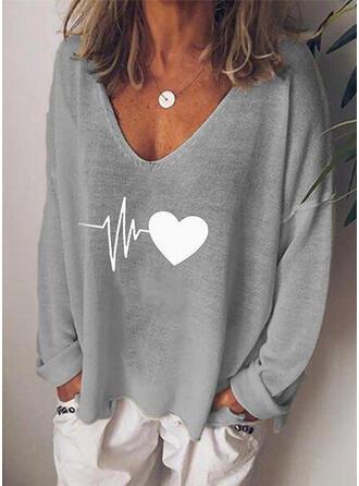 Print Hjärta V-ringning Långa ärmar Fritids Stickning T-shirts