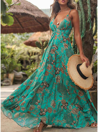 Print Sleeveless A-line Slip/Skater Vacation Maxi Dresses