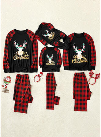 Reindeer Color-block Plaid Family Matching Christmas Pajamas