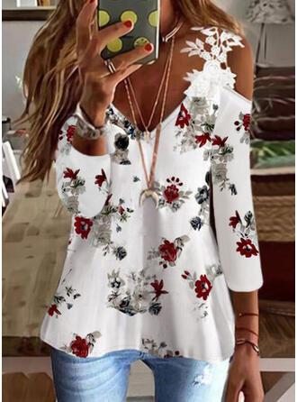 Floral Imprimeu Dantel Soğuk omuz Mâneci Lungi Tişörtler