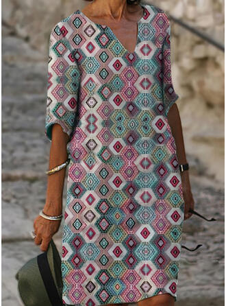 Geometric Print 1/2 Sleeves Shift Knee Length Casual/Vacation Dresses