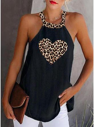 Estampado Leopardo Gola Redonda Sem Mangas Casual Camisetas regata