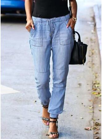 Solid Pamuk Uzun gündelik Tatil Büyük beden Pocket Büzgülü Drawing Pantolonlar