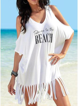 Düz / Tek Renk V yaka Aranyos Plaj Elbisesi Fürdőruhák