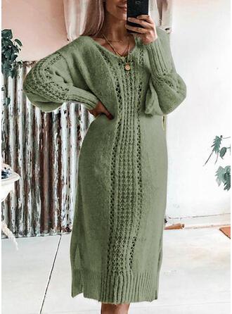 Solid Tricot Cablu Bucată tricotată Decolteu în V Rochie pulover