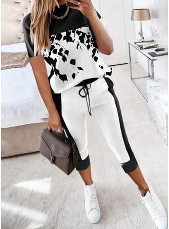 Color Block Tisk Neformální Plus velikost handsstring Dvoudílné outfity