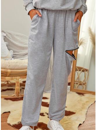 Solid Uzun gündelik Büzgülü Pantolonlar