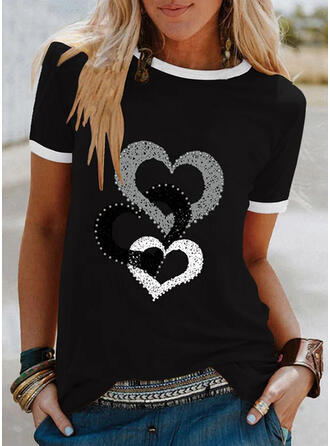 Beaded Heart Print Round Neck Short Sleeves T-shirts