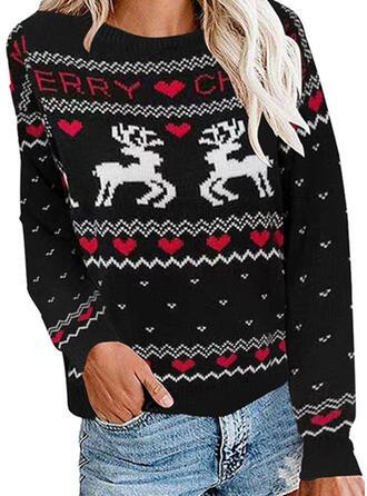 Estampado Animal Corazón Cuello Redondo Casuales Navidad Suéter de Navidad Feo
