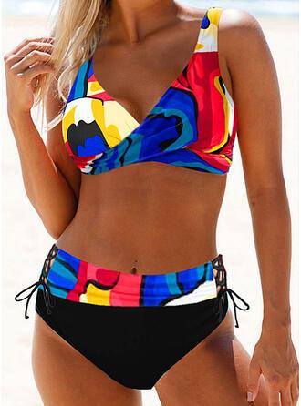 Tisk Na ramínka Sexy Plus mărimea Boho Bikiny Costume de baie