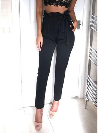 Marszczona Sznurek do ściągacza Elegancki Długi Spodnie