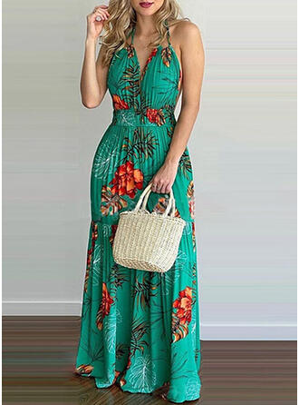 Print/Floral/Backless Sleeveless Sheath Slip Casual/Vacation Maxi Dresses