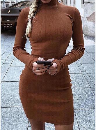 Solid Guler Rotund Rochie pulover