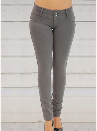 Patchwork Pockets Shirred Long Elegant Sexy Pants