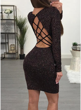 Sequins/Solid Long Sleeves Bodycon Above Knee Little Black/Sexy/Party Dresses