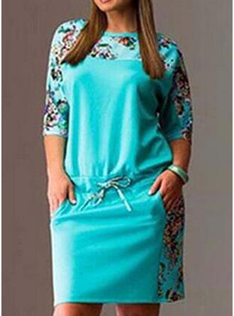 Tallas Grande Floral Impresión Mangas 1/2 Vestidos sueltos Sobre la Rodilla Casual Vestido
