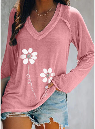 Figure Floral Print V-Neck Long Sleeves T-shirts