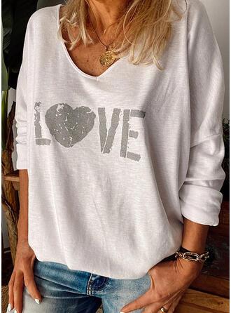 Drucken Herz V-Ausschnitt Lange Ärmel Freizeit T-shirts