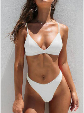 Solid Color High Waist Strap V-Neck Sexy Casual Bikinis Swimsuits