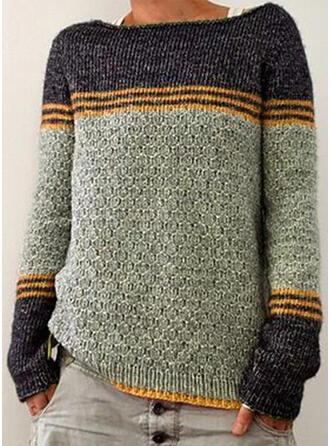 Geblockte Farben Gestreift Rundhalsausschnitt Freizeit Pullover