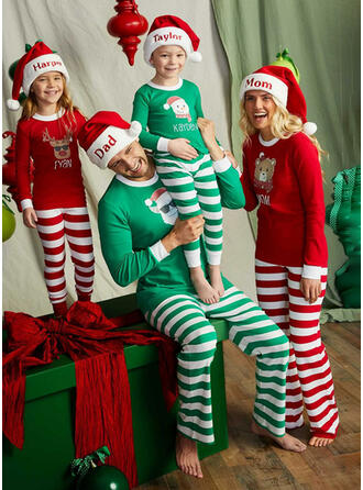 Santa Reindeer Color-block Bear Striped Family Matching Christmas Pajamas