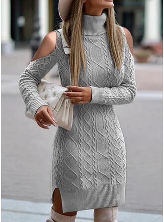 固体 ケーブル編み タートルネック コールドショルダー カジュアル セータードレス