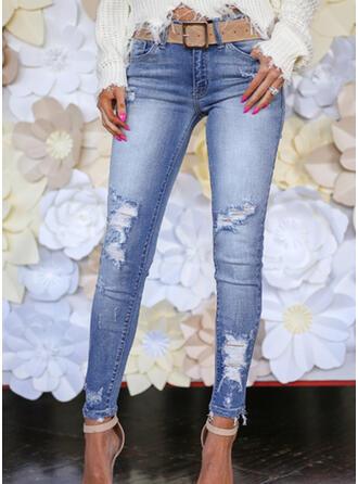 Niejednolita całość Kieszenie Marszczona Duży rozmiar Długo Elegancki Seksowny Chudy Żakard Spodnie Dżinsy