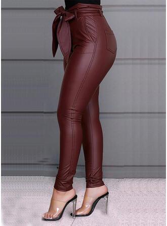 Niejednolita całość Duży rozmiar Kokarda Długo Elegancki Seksowny Skórzany Spodnie