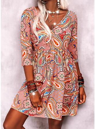 Imprimeu Măneci Trei Sferturi Shift Elbiseleri Deasupra Genunchiului gündelik/Boho Elbiseler