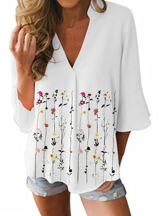 Print Bloemen V-hals Flare Mouw 3/4 Mouwen Casual Overhemd