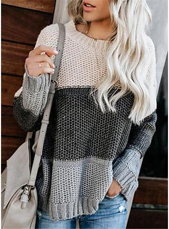Color Block Cable-knit Chunky knit Round Neck Oversized Casual Sweaters