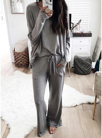 Pevný buzunare Plus Size Șnur Casual sportiv stretchy Costumele