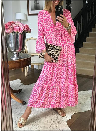 Print Long Sleeves/Flare Sleeves Shift Casual/Vacation Maxi Dresses