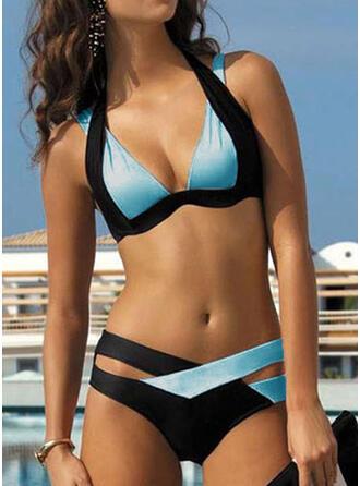 Цветной блок Ремень V шеи Большой размер Повседневная отпуск Bikinis купальников