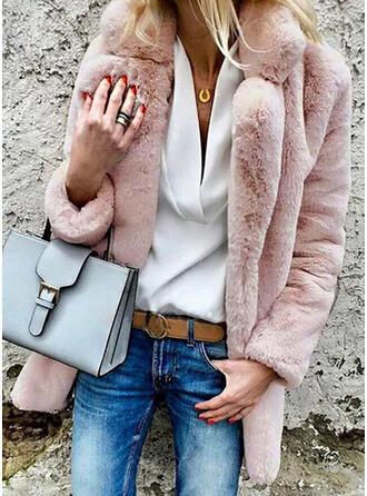 Uzun kollu Düz / Tek (Renk) Blend kabátok