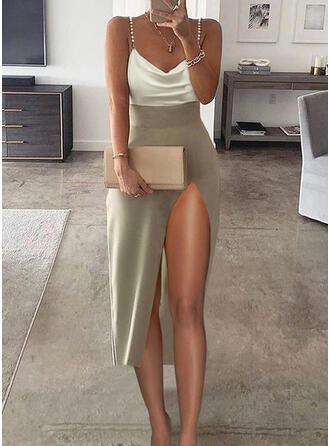 Colorido Sem mangas Bainha Alça fina Elegante Midi Vestidos