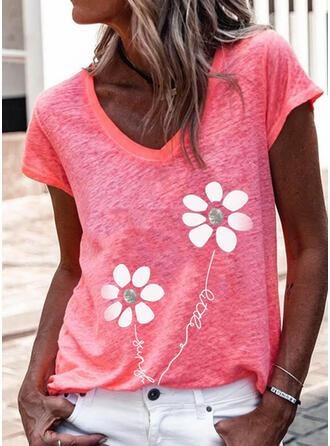 Figura Kwiatowy Nadruk Dekolt w kształcie litery V Krótkie rękawy T-shirty