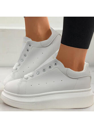 Women's Microfiber Flat Heel Flats Low Top With Lace-up shoes