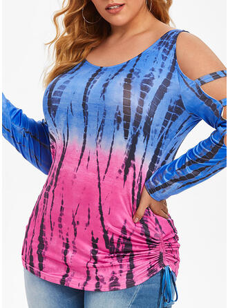 Print Tie Dye Cold Shoulder Long Sleeves Casual Plus Size Blouses