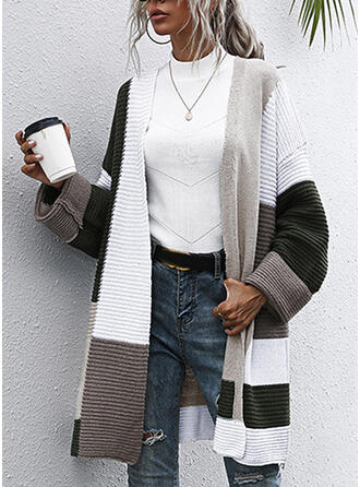 Color Block Striped Casual Long Cardigan