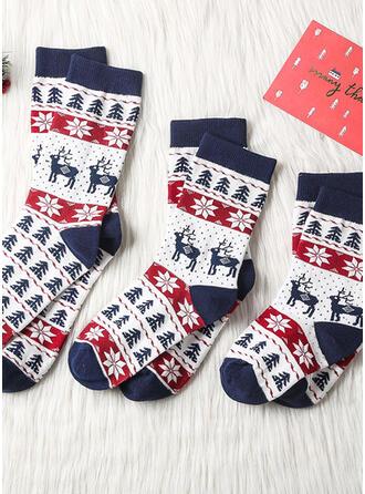 Plaid/Ren de Crăciun Confortabil/Crăciun/Șosete echipaj/Unisex Şosete