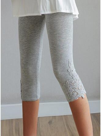 Pevný Capris Neformální Plus velikost Žakard Slit Kalhoty Legíny